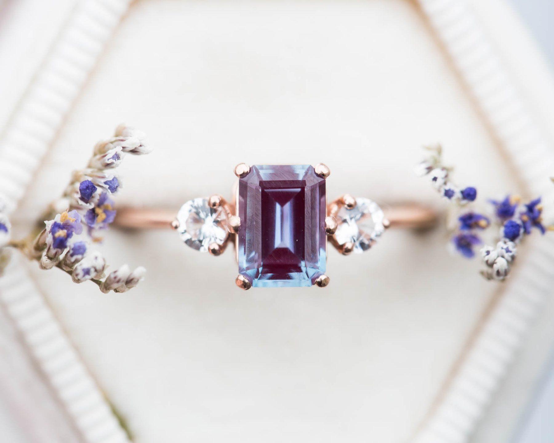 Alexandrite Sapphire Engagement Ring