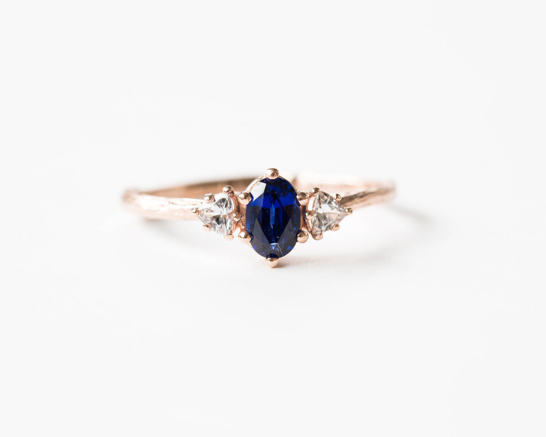 Chatham Blue Sapphire Engagement Ring