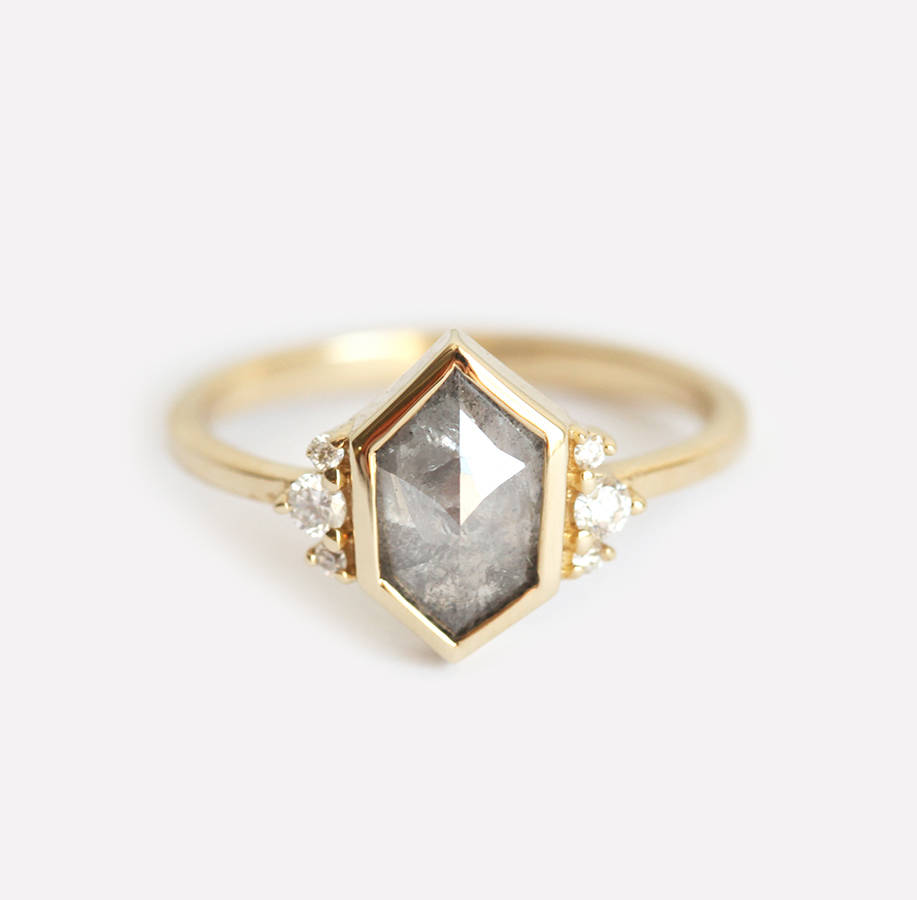 Hexagonal Rose Cut Grey Diamond Engagement Ring