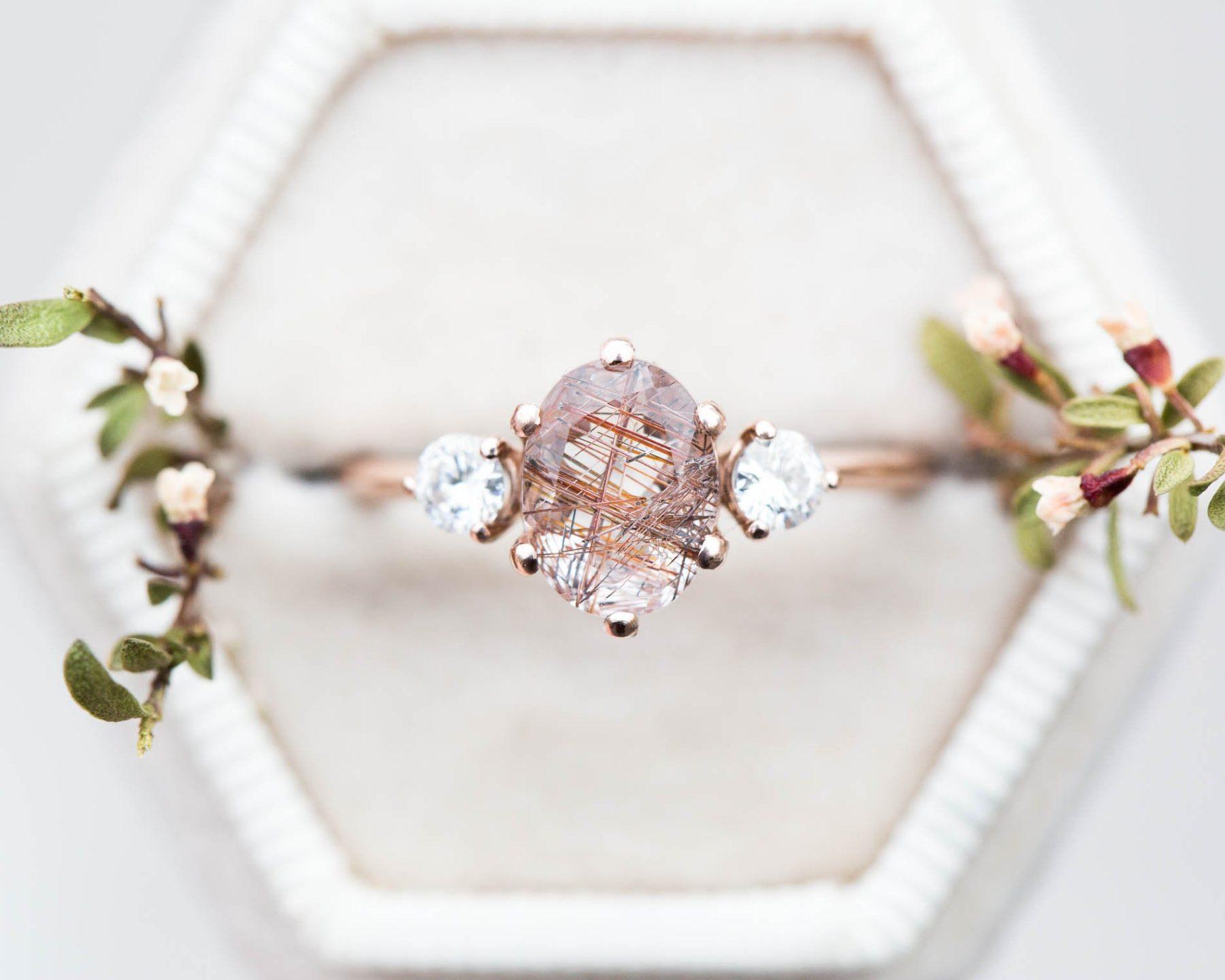 Rutilated Quartz Engagement Ring