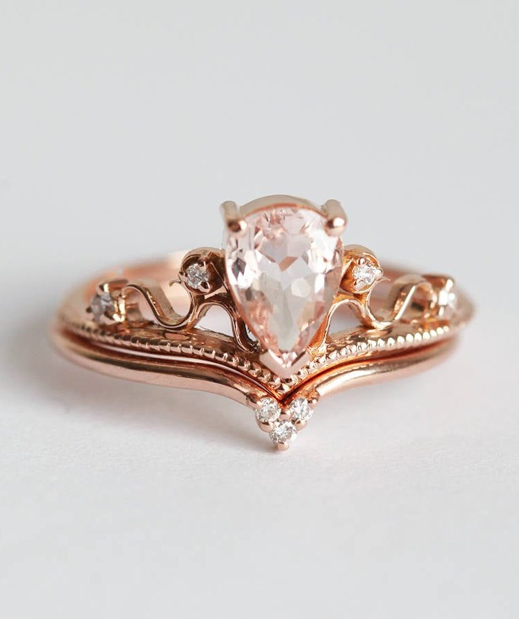 Morganite Vintage Rose Gold Ring Set