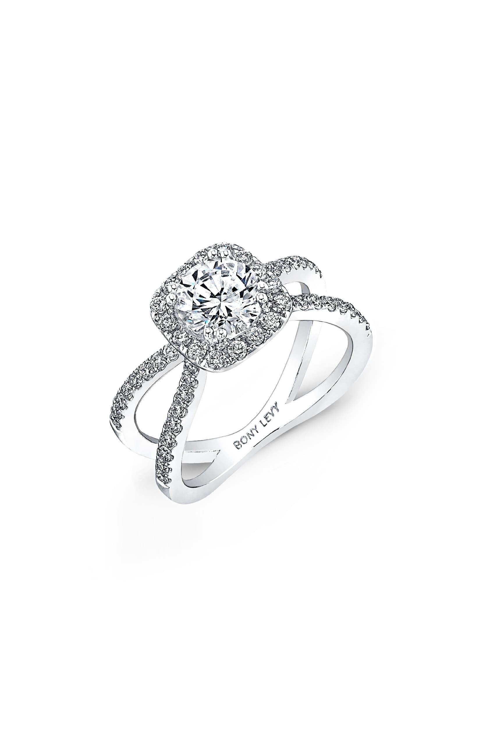Pavé Diamond Split Shank Round Engagement Ring Setting