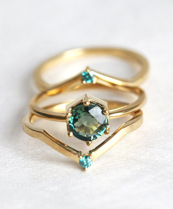 Sapphire Engagement Ring Set